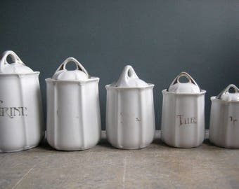 A set of vintage French kitchen cannisters, art nouveau style, white cannister set, white porcelain jars, kitchen storage, french kitchen