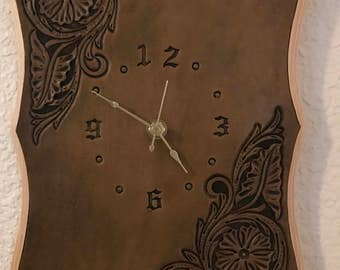 Floral clock, Genuine Leather, Hand Tooled