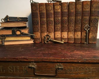 1765 Works of Dr. Jonathan Swift, Rare Leather-Bound Partial Book Set, Set of Nine (9) 18th Century Books