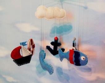 Baby Mobile nautical felt, Nursery Crib, Crib mobile, Nursery decoration, Nautical crib mobile with ships, lighthouse, fish, lifebelt, cloud