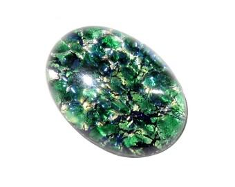 Large 25mm Czech vintage oval dragons breath fire opal foil green glass cabochon