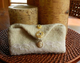 Hand Knit Ivory Felt Rustic Eco Chic Wedding Clutch - Cameo