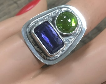 Dimensional Iolite and Peridot Ring Size 7