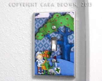 Dragon Light Switch Cover  Nursery Decor Knight boys room blue green