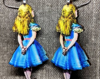 Alice in Wonderland Earrings / Handmade Wood Earrings / Handmade Jewelry / Alice Earrings / Wonderland Earrings / Fantasy Earrings