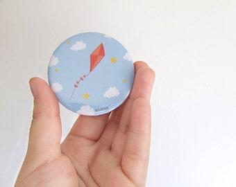 Kites Badge - 57mm Large Pin - Illustration - Pinback Button