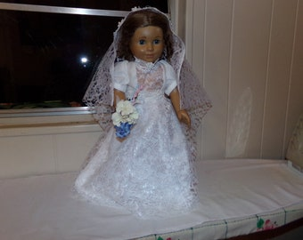 """Lace wedding dress for 18"""" doll"""