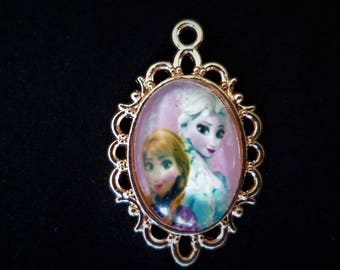 Cabochon pendant 30 X 20 mm pendants child little girl's frozen