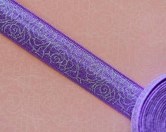 Silver purple flowers elastic Ribbon