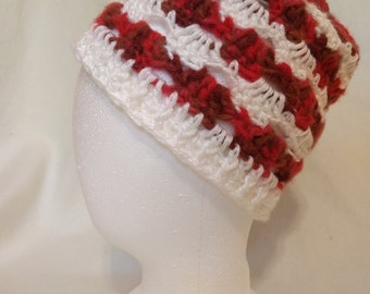 Red and White Petal Beanie