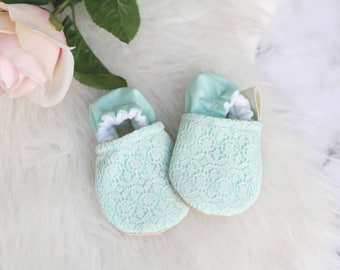 Mint and Lace Baby Girl Shoes// Mint Baby Girl Shoes, Baby Girl Shoes, Lace Baby Girl Shoes, Lace Baby Shoes, Baby Booties, Baby Girl Bootie