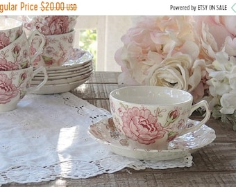 ON SALE Vintage Johnson Brothers Rose Chintz Tea Cup and Saucer Set, English Ironstone China, Bridesmaid Luncheon, Tea Parties Ca 1930s