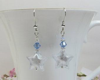 Crystal Silverfoil Stars Earrings Murano Venetian Glass with 925 Sterling Silver Swarovski Earrings