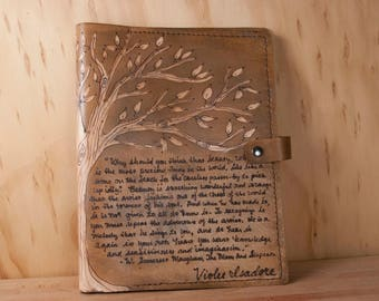 Personalized Sketchbook - Leather with Quote and Tree - Knowledge Pattern in Antique Brown - Third Anniversary Gift for Her