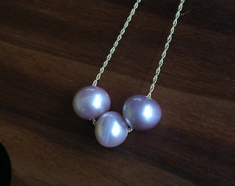 3 peal floating necklace on 14k gold filled chain