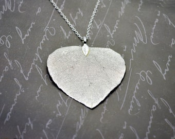Dombeya leaf necklace, real leaf pendant, Dombeya wallichii, Pinball, Scarlet Dombeya, silver leaves, 925 sterling silver. plated real leaf