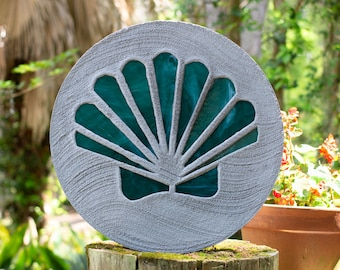Teal Green Scallop Shell Stained Glass Stepping Stone