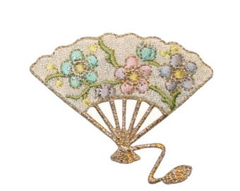 ID 3376C Floral Folding Fan Patch Fancy Dance Wind Embroidered Iron On Applique