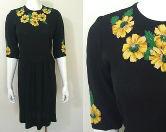Vintage 1940s Black Crepe Dress with Yellow and Green Sequin Flowers - M