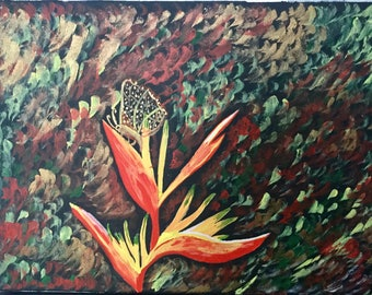 Tropical beauty-Watercolor painting on stretched canvas by Rinkysart