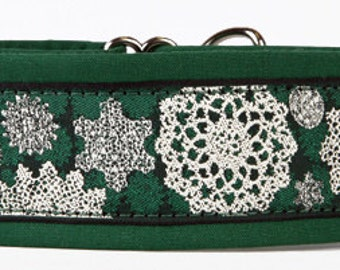 "Snowflakes on Green 2"" Martingale Collar-"