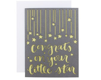 Congrats on your little star laser cut baby card