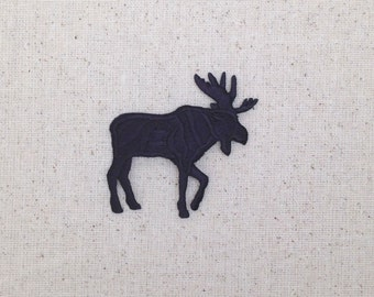 Moose Silhouette - Large - Facing RIGHT or LEFT - Iron on Applique - Embroidered Patch - 696128