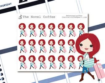 Planner Stickers Doodle Girl Travel - Erin Condren Life Planners - NC10