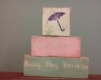 Primitve April Showers Bring May Flowers blocks