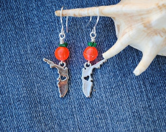 Florida earrings; state earrings; orange green earrings; neon orange earrings; orange bead earrings; sunshine state; florida jewelry