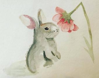 Baby Bunny Meets Spring original watercolor painting