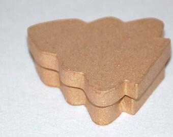 Paper mache Christmas tree box