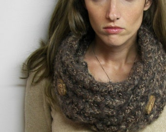Earthy Brown Button Up Scarf - Cowl - Neckwarmer with Tree Branch Buttons