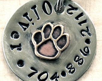 Pet id tag Multi Metal Paw