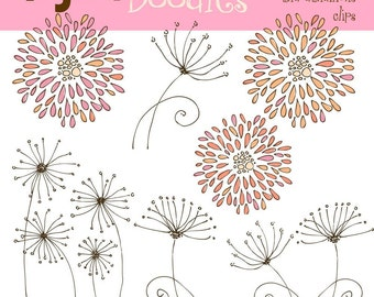 PInk Crysanthimums and dandilions digital clip art