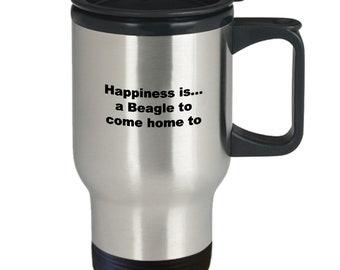 Funny beagles travel coffee mug - happiness is a beagle to come home to