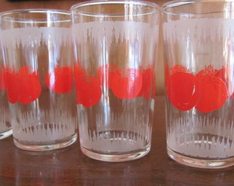 Vintage 60's Mod Tomato Juice Glasses - set of 5 - Dominion - Entertaining - Serving - Brunch - Glassware - 60's Glasses
