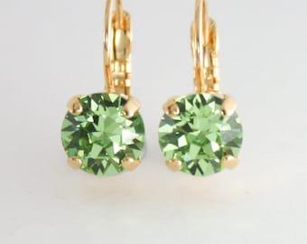 green crystal earrings,peridot crystal earrings,swarovski earrings, rose gold leverback earrings,rose gold earring,august birthstone,peridot