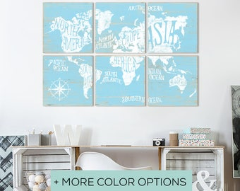 Large Wood Map - Rustic Wooden Map - Wall Art Vintage Map - World Map Canvas - Large World Map Canvas - Extra Large Map - Vintage Worldmap