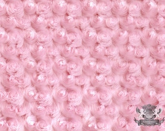 "Minky Cuddle ROSEBUD Light Pink Fabric / 58"" Wide / Sold by The Yard"