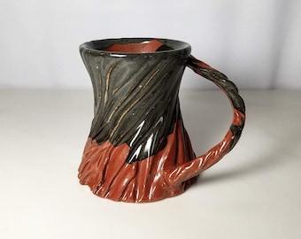 Orange Mug, Carved Mug, Textured Mug, Unique Mug, Gift for Him, Handmade Pottery Mug