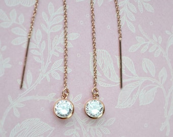 Rose Gold Threader Earrings with Tiny CZ Sparkling Gems & Long Pull-Through Chains