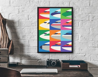 Airline Nose Livery Retro Minimal Design Poster Art Print
