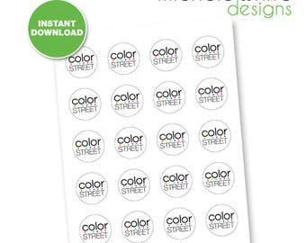 "1.5"" Round Labels, Color Street - Instant Download"