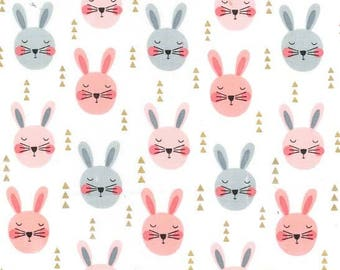 QUILTING COTTON Michael Miller Ruminating Rabbits in Peach Quilting Cotton. Sold by the 1/2 yard
