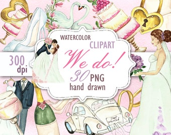 Wedding Clipart, Bride Clipart, Bridal Shower Invitation, DIY Wedding Watercolor Clip Art, Wedding Dress Celebration Clipart , Wedding icons