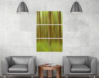 Blurred Trees Green Triptych Metal Wall Art