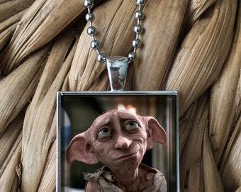 Dobby the House Elf Harry Potter Character Glass Pendant Necklace