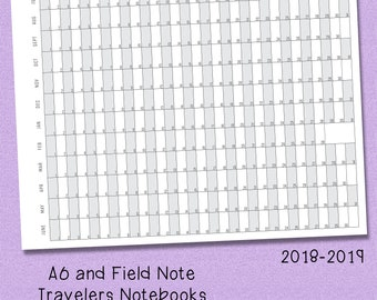 A6, Field Note Ring Bound and Travelers Notebook Printable - Side Fold Academic year 2018-2019