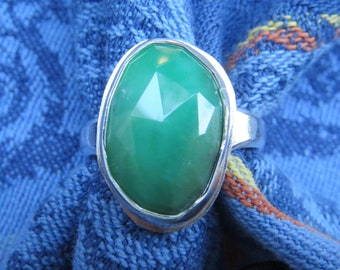 Long Oval Chrysoprase Rose Cut in Argentium Ring Size 9